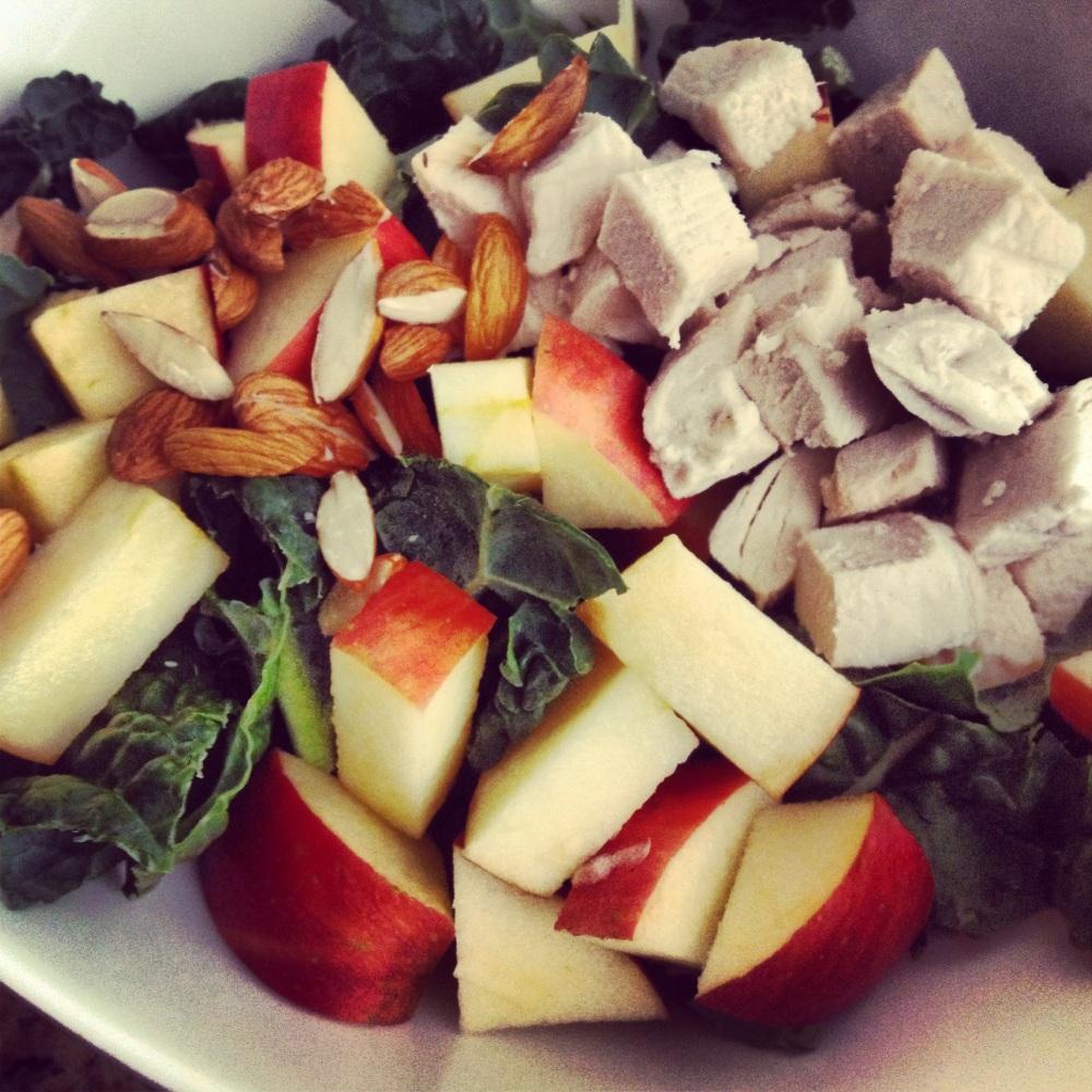 {{ Chicken Chopped--Almond, Apple & Kale Salad }}