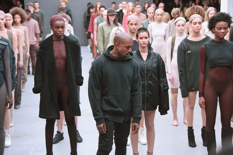 NEW YORK, NY - FEBRUARY 12: Kanye West attends the adidas show during Mercedes-Benz Fashion Week Fall 2015 at Skylight Clarkson SQ. on February 12, 2015 in New York City. (Photo by Gary Gershoff/WireImage)
